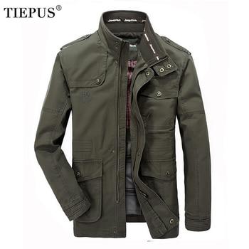 цена на TIEPUS Jacket Men's Brand Fashion Cotton Jacket Men's Pilot Jacket Plus Size M~5XL,6XL, 7XL Casual Military Jacket