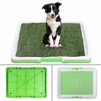 3 Tire Puppy Dog Pet Grass Toilet Tray Indoor Dog Training Potty Pee Pad Mat Tray Fake Grass Toilet With Tray Pet Supplies