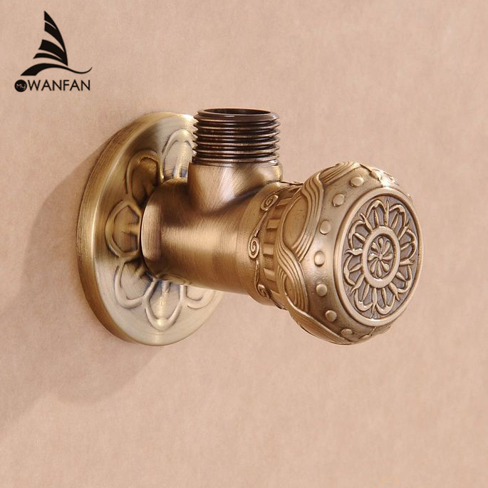 Faucet Replacement Parts 1/2 x 1/2 Antique Brass Angle Stop Valve Shut Off Water Triangle Valve for Faucet and Toilet HJ-0318F phasat 4411 retro style copper triangle valve antique brass