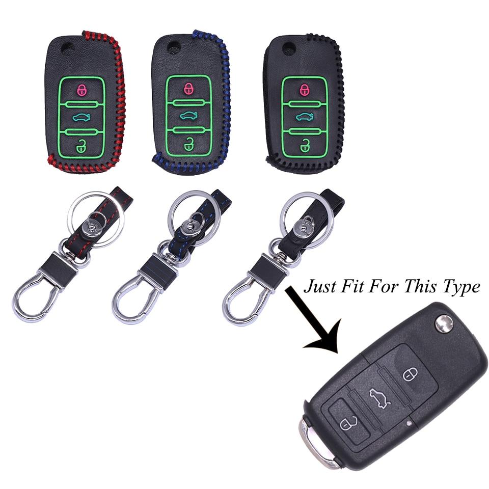 Из натуральной кожи флуоресценции ключа автомобиля чехол Обложка набор для Volkswagen Polo B5 B6 Гольф 4 5 6 Jetta Mk6 Tiguan за что жук