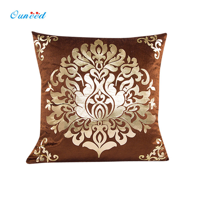 Ouneed 45cm*45cm Gold Velvet Red,Beige,Brown Pillow Case Throw Pillow Cover Home Decor Cobertura da almofada 1PC