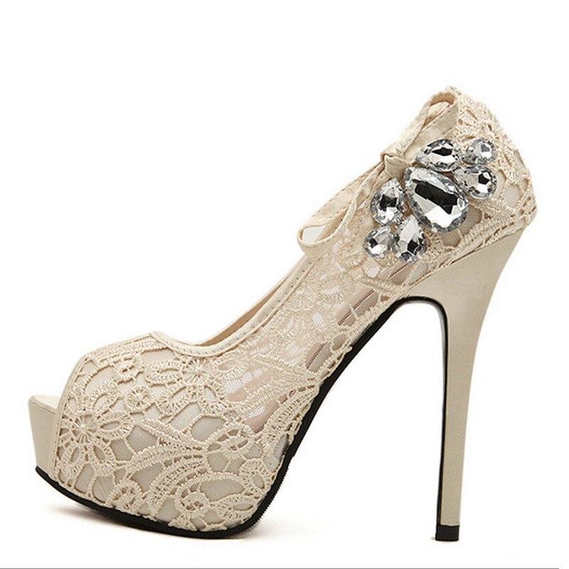 Sexy Lace Ladies Pumps 2016 Rhinestone Platform High Heels Crystal Peep Toe Wedding Shoes Woman Summer Plus Size 35-43 XWD2849 zorssar brand 2017 high quality sexy summer womens sandals peep toe high heels ladies wedding party shoes plus size 34 43
