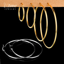 UZone Stainless Steel Big Circle Smooth Hoop Earrings for Women Gold Color Round Earrings Brincos Party Rock Gift