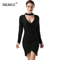 Sexy Women Dress Above Knee Mini Dress Womnes Bow Collar Deep V Neck Elegant Empire Autumn