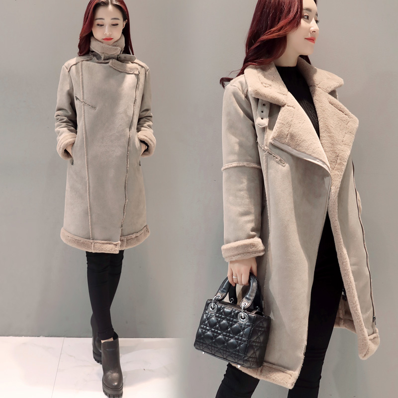 купить 2017 Winter Korea Plus Size Jacket Coat Medium Long Lamb Wool Suede Fabric Overcoat Thick Warm New Fashion Zipper MY0043 дешево