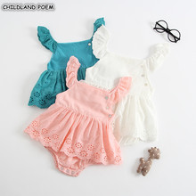 Baby Girl Clothes Summer Sleeveless Newborn Baby Dress Cotton Lace Inf