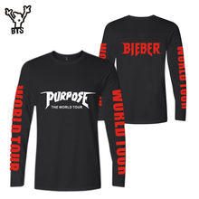BTS Justin Bieber 2017 NEW Style Purpose Long Sleeve t-shirt Men/Women Spring Cotton Cool Kpop Designs T-Shirts Plus Size 4xl(China)