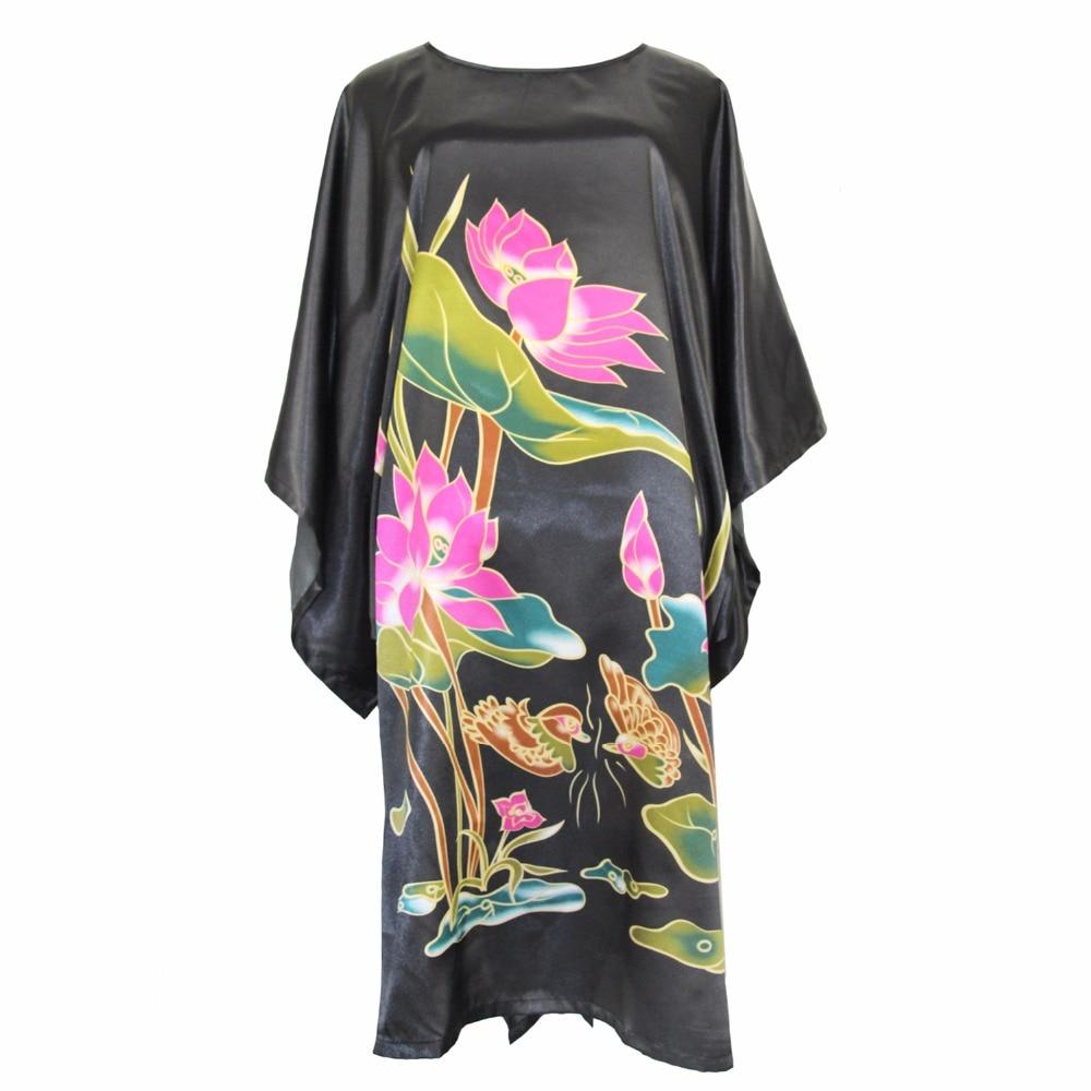 Black Flower Women Nightwear Casual Novelty Robe Sexy Chinese Home Dress Satin Rayon Nightdress Lady Sleepwear Katan One Size