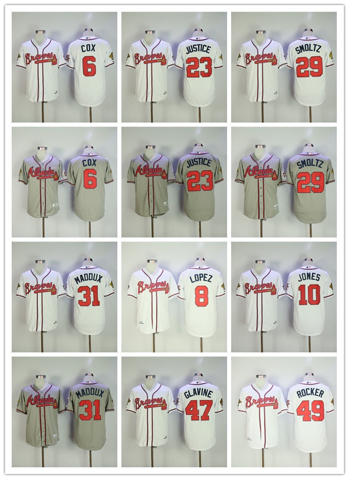 MLB Mens Atlanta Braves Tom Glavine John Smoltz Greg Maddux David Justice 1995 World Series patch Player Jersey ...