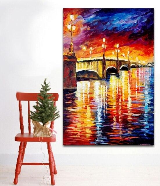 office color palette. 100% Hand Painted Color Palette Picture Attractive Evening Cityscape Bridge Canvas Painting For Living Room Office D