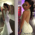 Custom Made Off The Shoulder Mermaid Pearls Evening Dress 2016 New Arrival Ivory Gray Sexy Hand Work Prom Formal Dress Vestidos