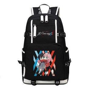 Image 2 - DitF mochila de viaje de DARLING in the FRANXX para mujer, bolso escolar de lona para adolescentes y niñas, ICHIGO MIKU ZERO TWO Cos