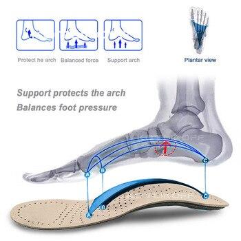 Orthèses en cuir véritable semelle intérieure pour pied plat soutien de la voûte plantaire varus fasciiti semelles orthopédiques en Silicone pour hommes et femmes 2