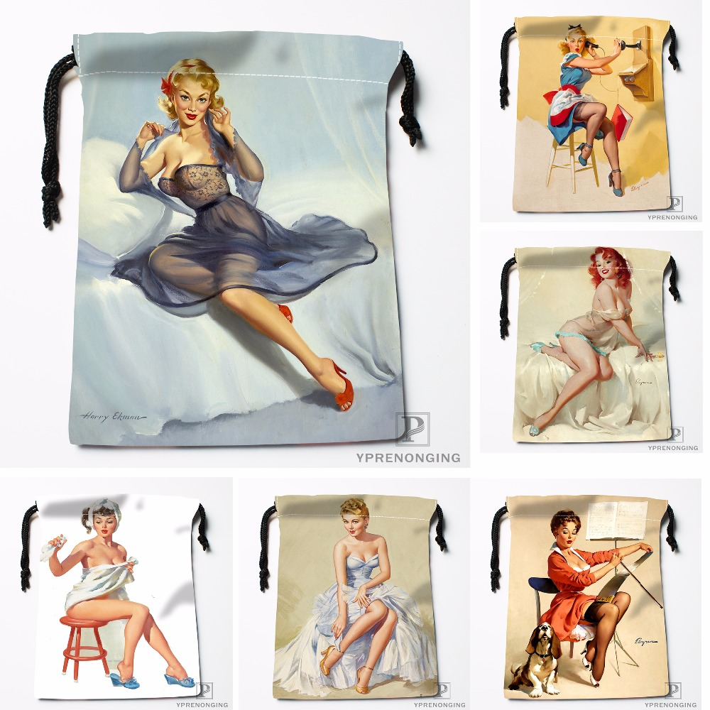 Custom Pin Up Retro Rover Poodle Drawstring Bags Travel Storage Mini Pouch Swim Hiking Toy Bag Size 18x22cm#0412-04-222