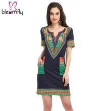 fe1d7fa61 Dashiki vestido 2017 verão sexy africano impressão camisa vestidos femme  mini hippie do vintage plus size boho mulheres roupas c.