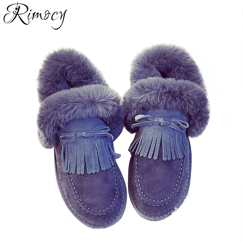 Rimocy thick fur tassel women snow boots 2017 winter slip on flat heels long plush warm shoes woman casual cotton ankle boots