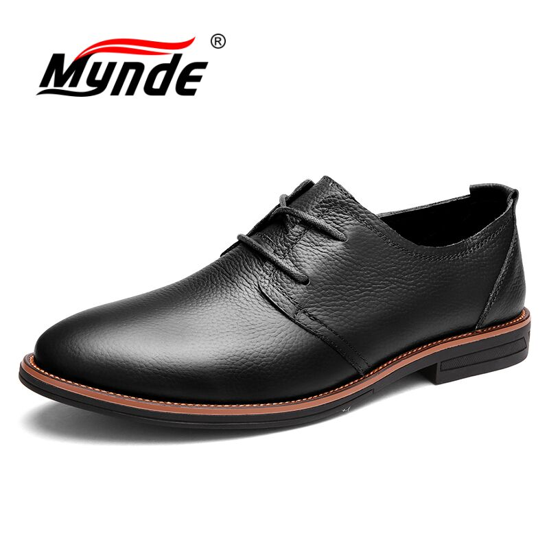 MYNDE Oxfords Men Genuine Leather Brand Spring Autumn Men's Formal Leather Shoes Dress Biritsh Vintage Retro Shoe Elegant Shoe