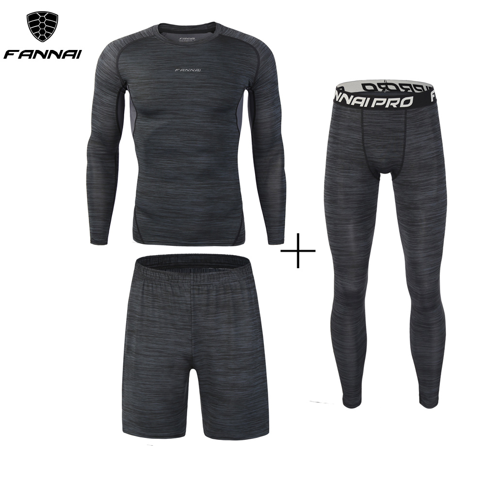 Men's Compression Pants Set Workout Fitness Sportswear Bodybuilding Tight Long Sleeves Shirts Leggings Suit Three Pieces Chothes