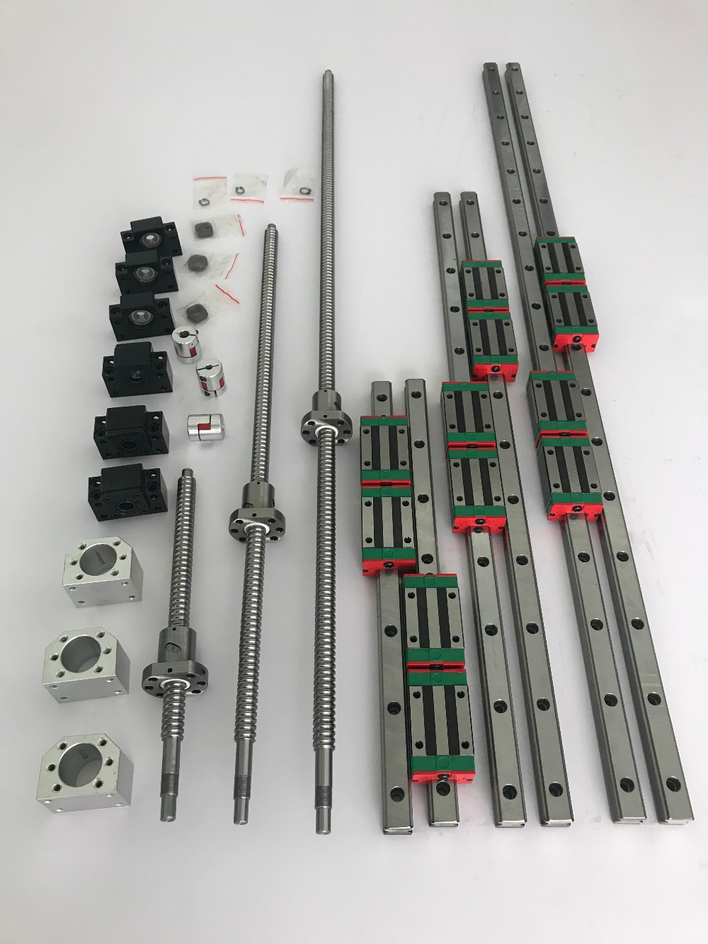 6 sets linear guide rail HGR20- 400/700/1000mm + SFU1605- 400/700/1000mm Ballscrew + BK/BF12 + Nut housing + Coupling CNC parts 3 linear guidesbr16 300 700 1000 1000mm 4ball screws 1605 300 700 1000 1000mm 4bkbf12 4ballnut housing 4coupling 6 35 10