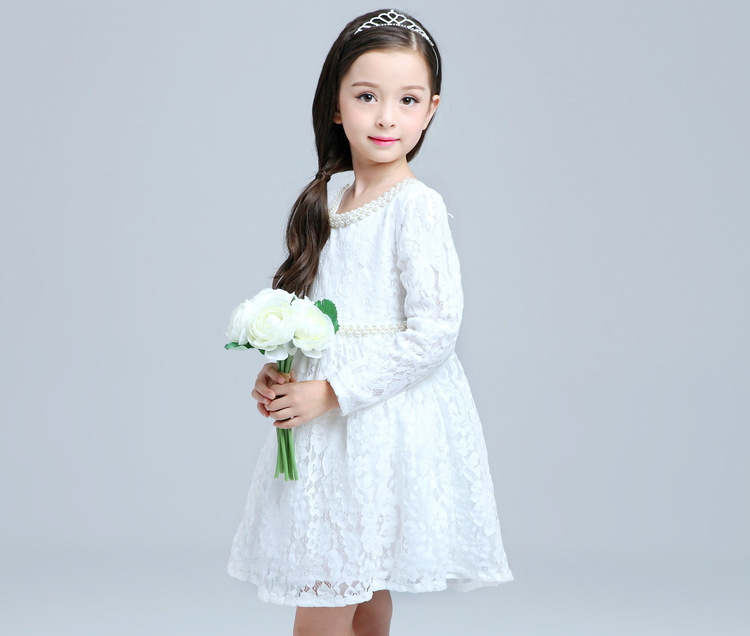 Girls Autumn New Korean Flowers Lace Long Sleeved Cotton Princess Dress Kids Clothing retractable styluses for dsi ndsi 2 stylus