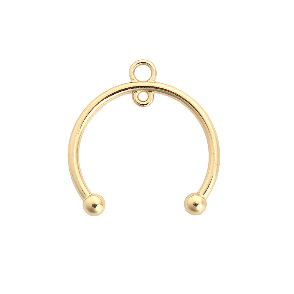 DoreenBeads Zinc Based Alloy Gold Color Charms Half Round Fashion Pendants DIY Components 28mm(1 1/8) x 27mm(1 1/8), 10 PCs
