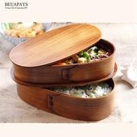 6pcs Wooden crafts double decked Fraxinus mandshurica instant box wooden lunchbox Kitchen utensils wooden tableware student deco