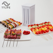 TTLIFE BBQ Kabob Maker 16 Holes Meat Skewer Kebab Maker Machine Beef Meat Maker with 32 Bamboo Skewers