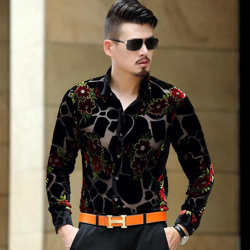 Prints Floral Men Party Dress Shirts Long Sleeves Dobbyy Singer Performance Leisure Shirts See Through Sexy Male Summer Shirts