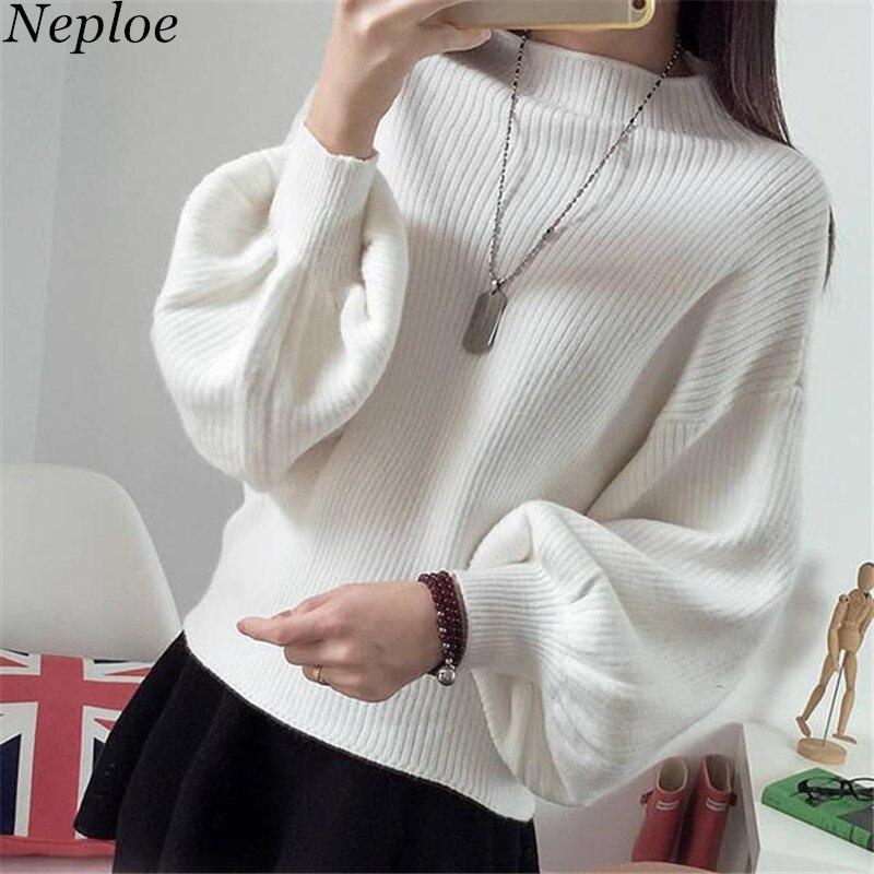 Neploe Women Sweater Puff-Sleeve Korean-Fashion Pullovers Knitwear Sueter Loose Autumn