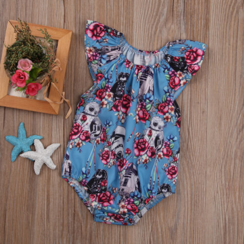 Newborn Baby Star Wars Clothes Romper Girls Cute Floral Printed Soft Comfortable Cute Outfit Lovely Sets High Quality Hot Sale