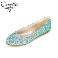 Creativesugar Sparkling 3D bling del brillo verde azul rojo púrpura mujer pisos beach wedding party night club zapatos de moda plana