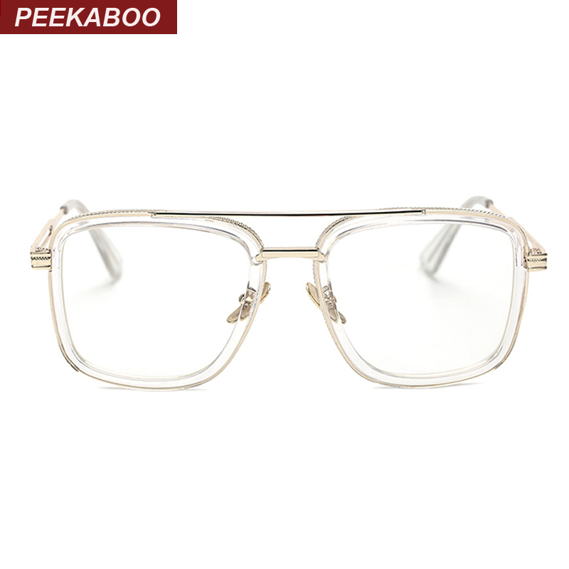 peekaboo brand designer big square glasses frames for men clear metal luxury fashion large frame eyeglasses frame men in eyewear frames from mens clothing