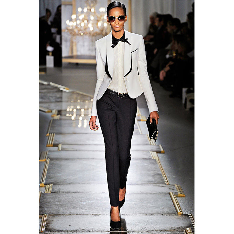Womens Suits White Jacket Black Pants Suit Ladies Shawl Lapel Business Evening Formal Suits Office Uniform B231