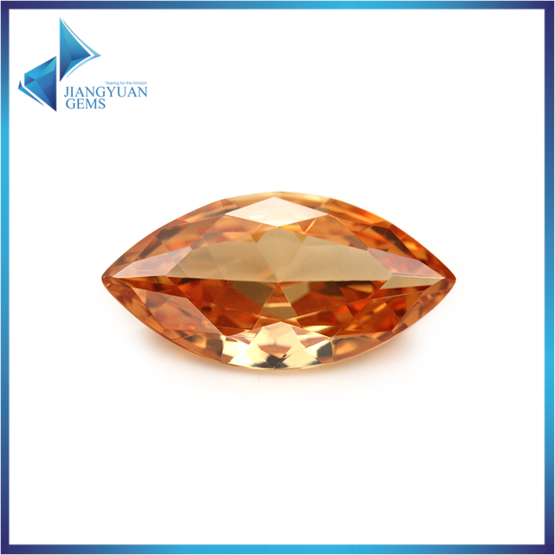 50Pcs Marquise Shape 5A Champagne CZ Stone 3x6-10x20mm Synthetic Gems Cubic Zirconia Beads For Jewelry