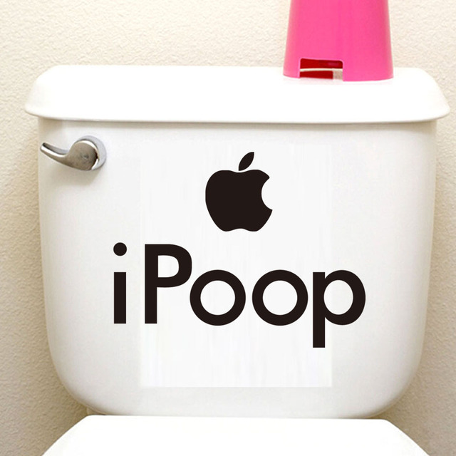 DCTOP Apple Ipoop Sign Funny Toilet Wall Decoration Sticker Vinyl  Waterproof WC Bathroom Wall Decals For