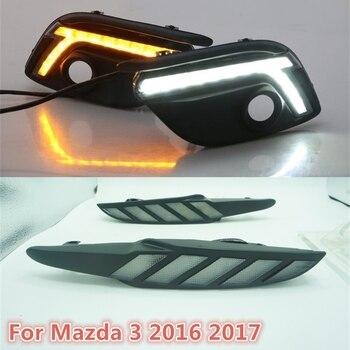 Moving signal! For Mazda 3 Mazda3 Axela 2017 LED DRL Daytime Running Light Daylights yellow Signal lamp car-Styling lights