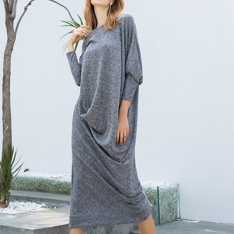 Autumn Women Knitted Dress 2020 Autumn Female Elegant  Long Sleeve Casual Loose Twisted Maxi Long Vestidos Plus Size Tunic S-5XL