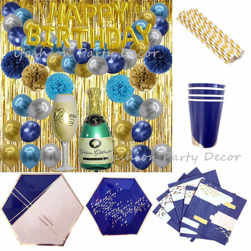 Золотые тарелки для вечеринки чашки для десерта бумажная салфетка украшение для салфеток набор фольга розовый Золотой занавес фон украшение свадебного стола на день рождения