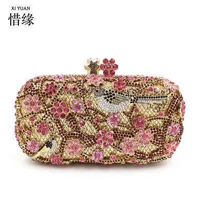 XIYUAN BRAND 2017 luxury European and American Style womens pochette soiree lady Crystal diamond flowers evening hand bag gifts soiree entertaining with style