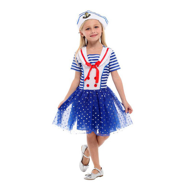 Umorden Halloween Sailor Costume Girl Kids Navy Uniform Cosplay Girls Child  Purim Carnival Christmas Party Dress 990e6cddc3ad