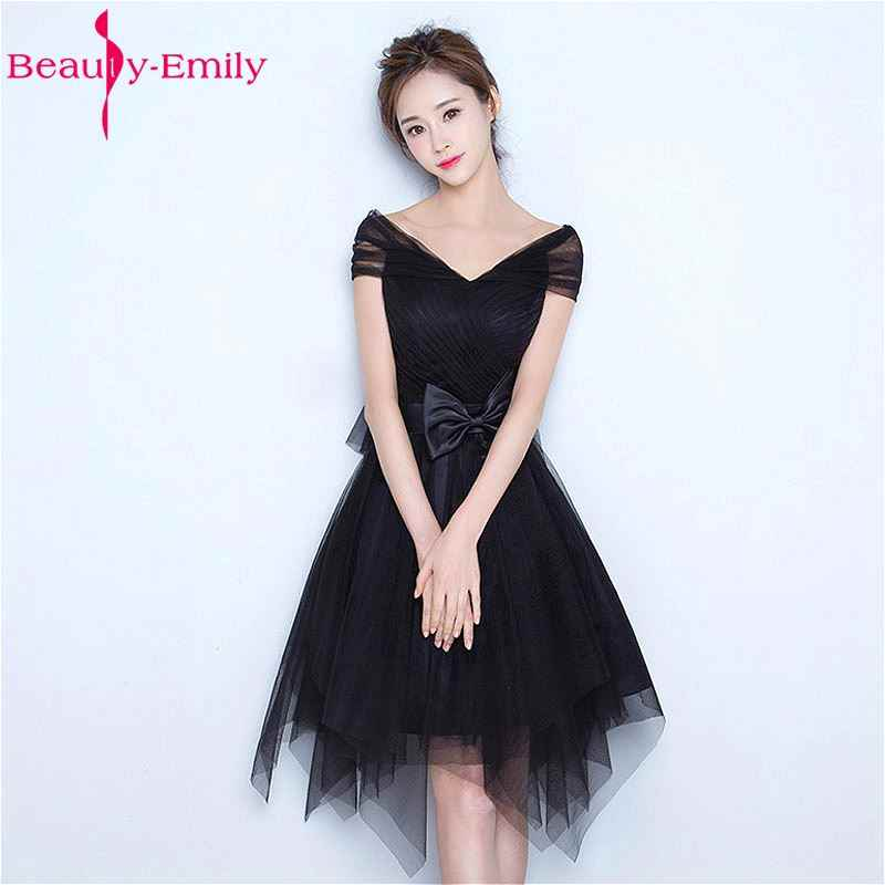 Beauty Emily Black Short Knee Length Tulle Evening Party Prom Dresses 2018  Sleeveless Backless Lace Bow 512ee29be01f