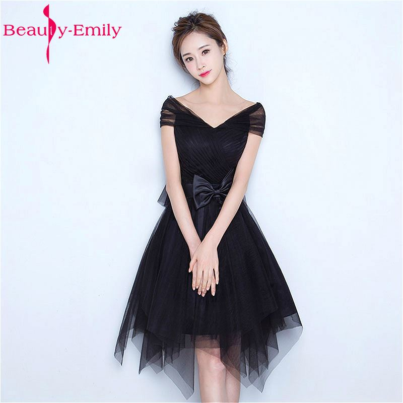 Beauty Emily Black Short Knee Length Tulle Evening Party   Prom     Dresses   2018 Sleeveless Backless Lace Bow Formal Occasion   Dresses