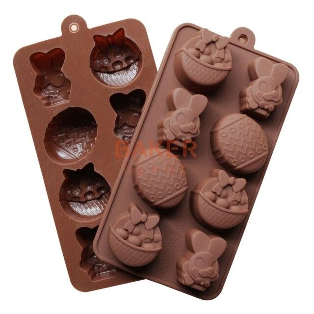 Zajączek na kostki lodu formy silikonowe DIY formy czekoladowe jaja kosz die kształt formy ciasto SICM-008-2