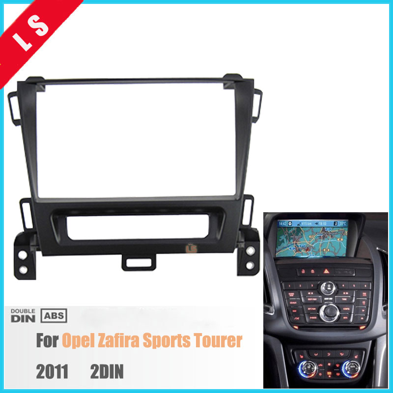 2DIN Car Radio Fascia for OPEL Zafira Sports Tourer 2011 2 Din stereo face plate frame panel dash mount kit adapter Bezel facia hopstyling 2x white 18 smd led number license plate light module for opel vauxhall astra j sports tourer estate zafira tourer c