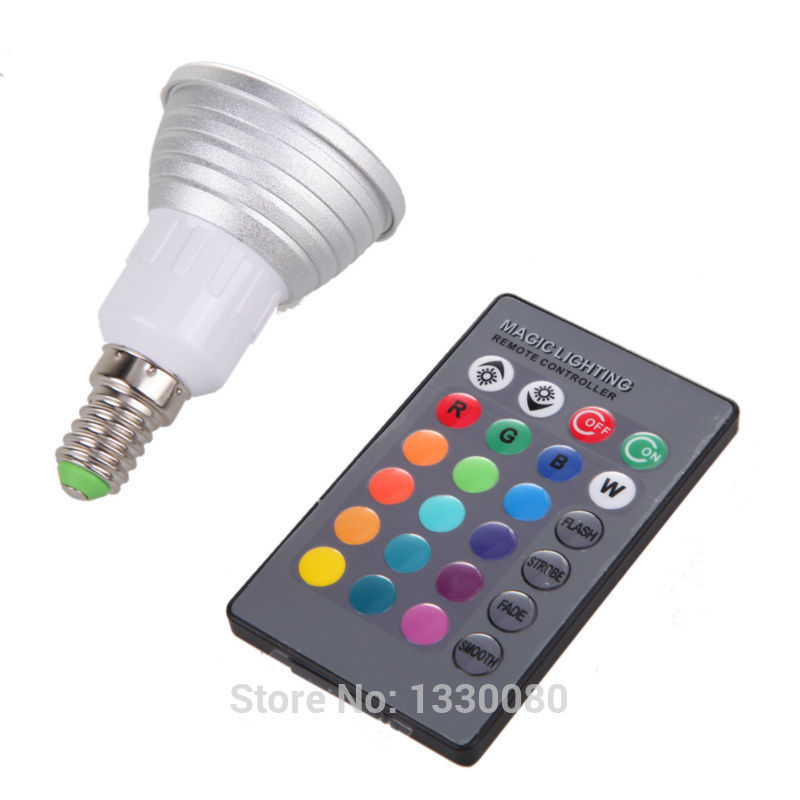 Free Shipping E14 3W RGB Energy Saving LED Light Color Changing with Remote Control