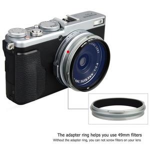 Image 4 - Foleto Metal Lens Hood Shade + 49mm Adapter Ring for Fujifilm X100F X70 X100T X100S LH X100 Back Silver LA 49 X100