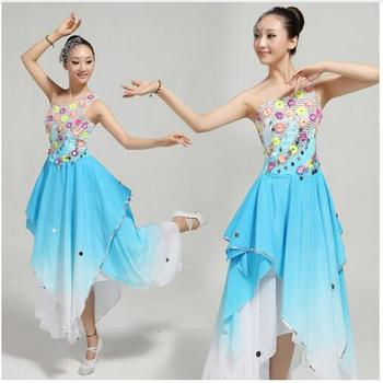 new Chinese classical dance costumes rhinestone sequined blue Gradient yangko/fan/flower/umbrella spring dance clothing