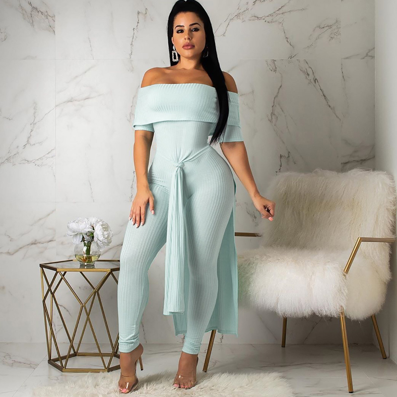 2019 autumn new women 39 s sexy jumpsuit word shoulder wrapped chest fashion split striped jumpsuit in Jumpsuits from Women 39 s Clothing