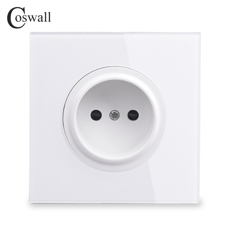 Coswall Crystal Glass Panel 16A Universal EU Wall Power Socket Outlet With Child Protective Lock