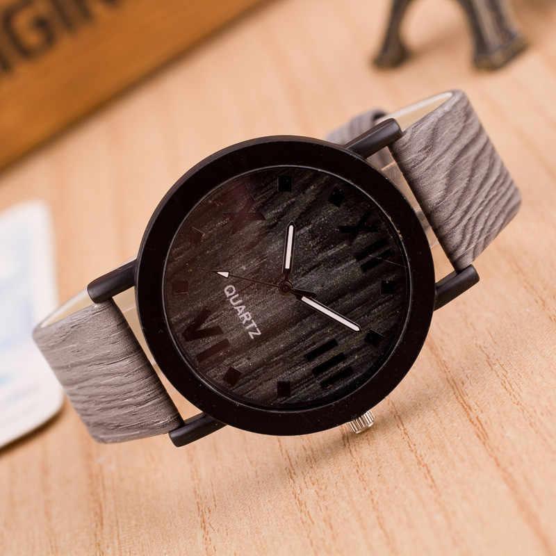 Relojes de pulsera de cuarzo analógicos con banda de cuero de madera con números romanos únicos para mujer, reloj para hombre, reloj masculino #0